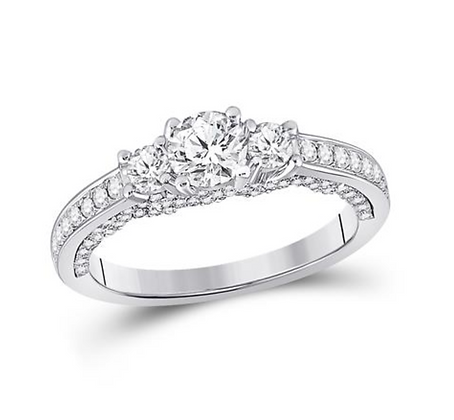 1.00 CTW Certified Three Stone Diamond Ring