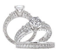 Bridal Set 14K Diamonds Peg Setting