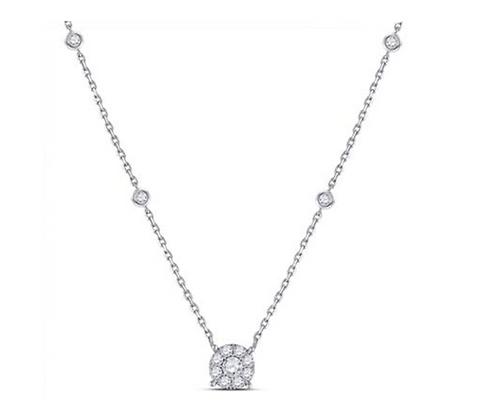 0.65 CTW Diamond Solitaire Halo Necklace