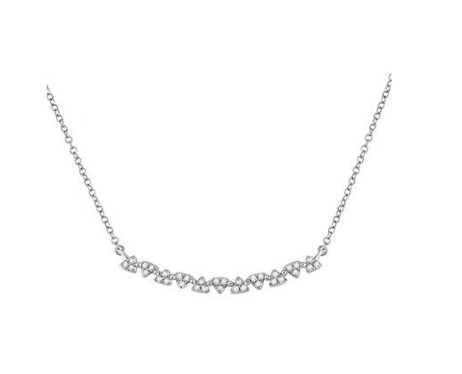 0.15 CTW Diamond Curved Bar Necklace