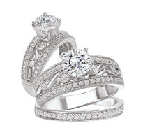 Bridal Set 14K Diamond Peg Setting