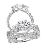 Bridal Set 14K Diamond Three Stone & Round Center