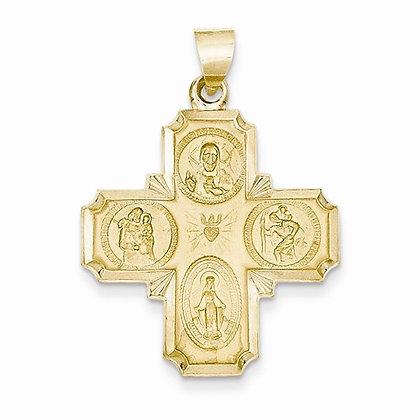 14K Four-Way Medal Pendant