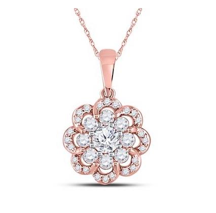0.50 CTW Diamond Flower Pendant