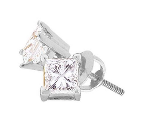 Certified 0.40 CTW Princess Cut Solitaire Stud Earrings