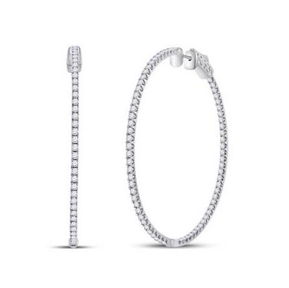 3.35 CTW Diamond Inside Out Hoop Earrings