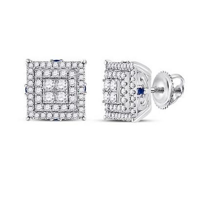 1.00 CTW Diamond & Blue Sapphire Composite Stud Earrings