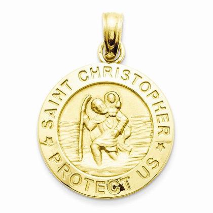 14K St. Christopher Medal Pendant