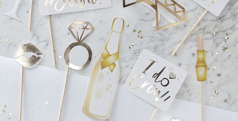 Gold Foiled Photo booth Props- I Do Crew