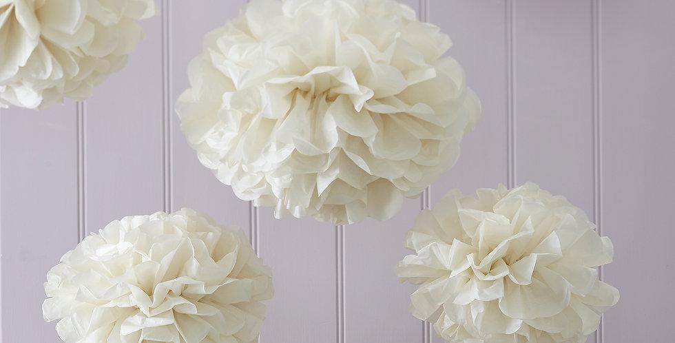 Tissue Paper Pom Poms - Ivory - Vintage Lace