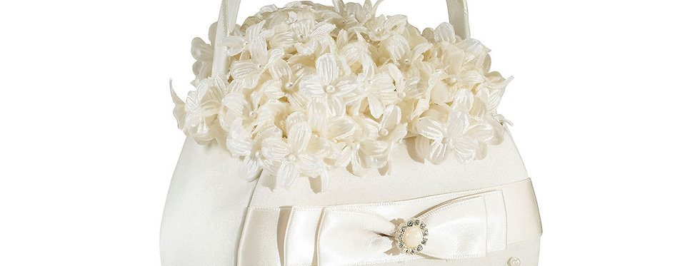 Scattered Pearl Ivory Flower Girl Basket LRFB125I