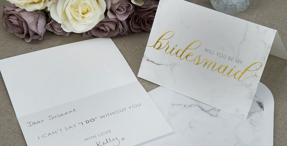 Scripted Marble - Bridesmaid Cards with Envelopes