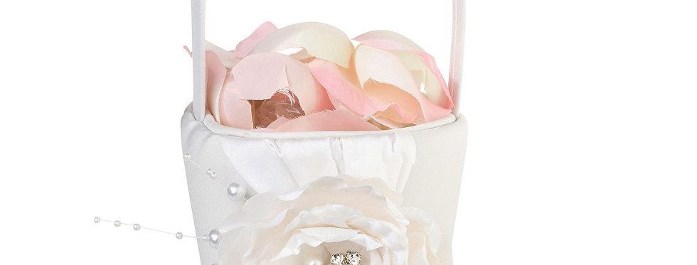 Lillian Rose Vintage White Rose Flower Girl Basket