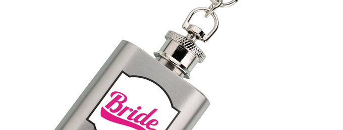 Mini Silver and Pink Bride Flask