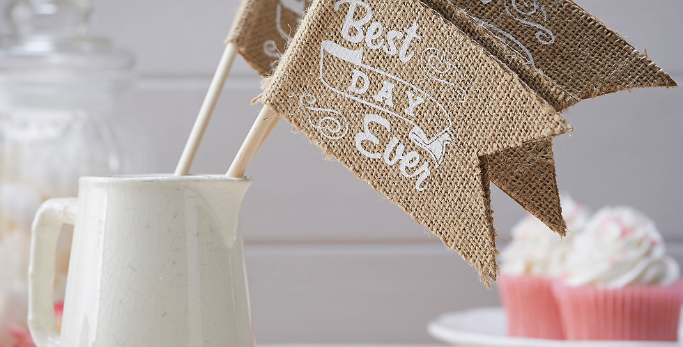 Best Day Ever Hessian Flags - Vintage Affair
