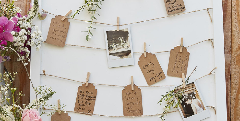 Wooden Peg& String Tag Frame Guest Book - Rustic Country