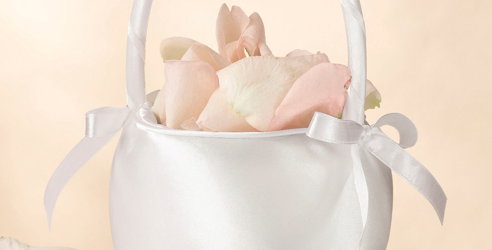 Off White Satin Flower Girl Basket LRFB170-OW