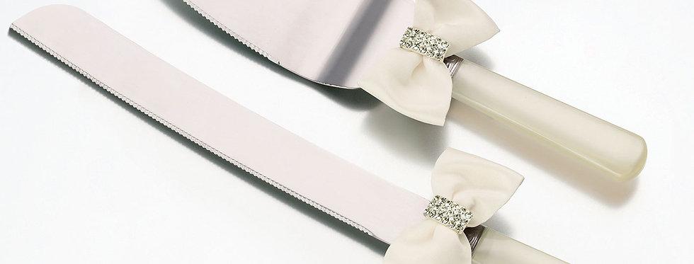 Lillian Rose Ivory Rhinestone Bow Knife and Server Set