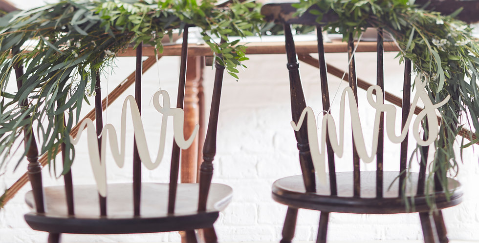Wooden Mr & Mrs Chair Signs - Beautiful Botanics