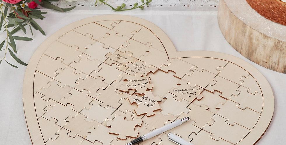 Wooden Jigsaw Guestbook Alternative - Boho
