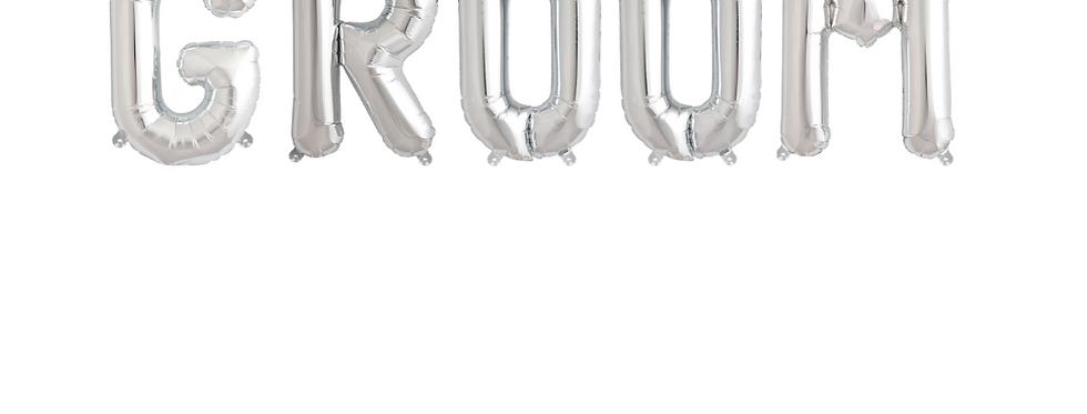 Silver Groom Balloon Banner