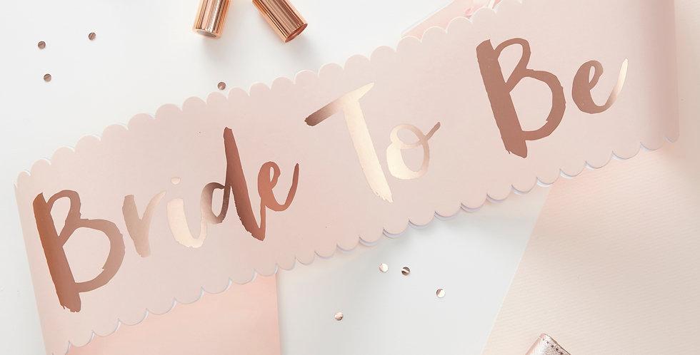 Pink & Rose Gold Bride To Be Sash - Team Bride