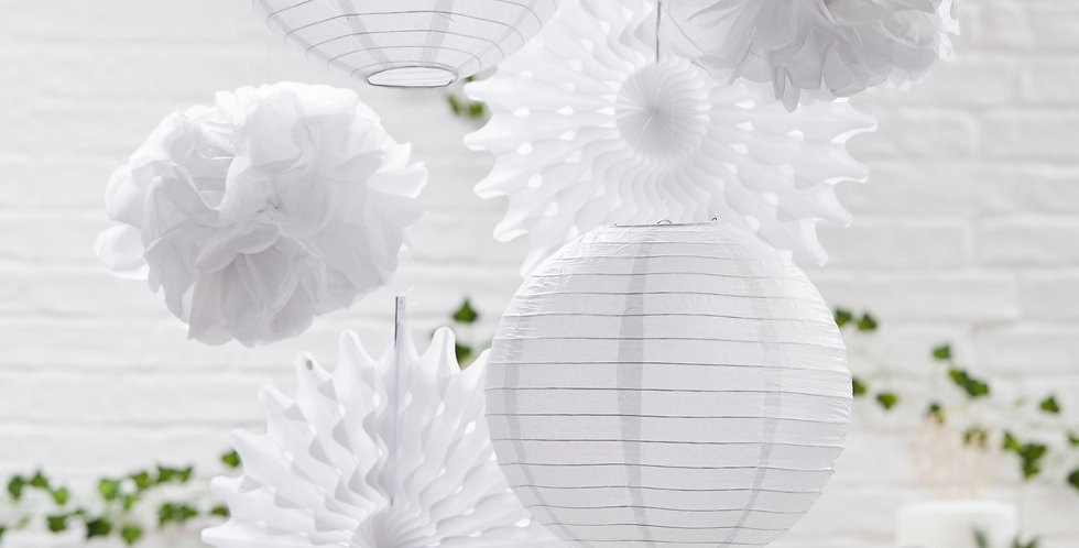 White Hanging Decorations Pack - Beautiful Botanics