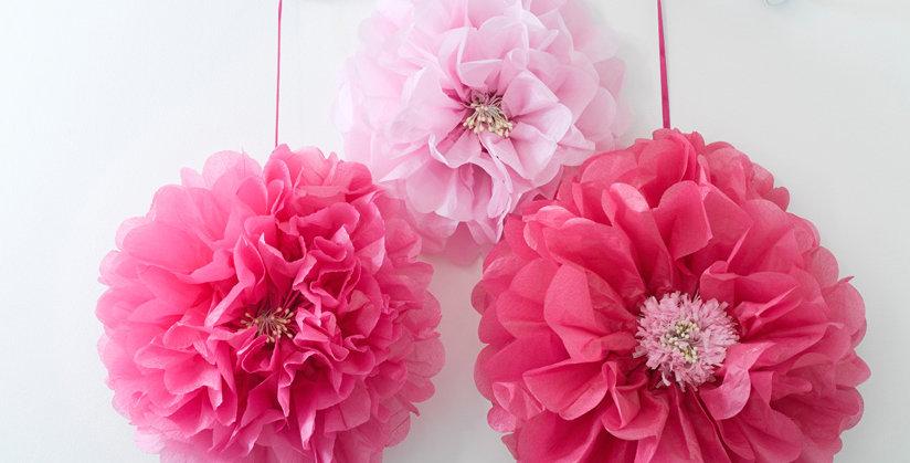 Decadent Garden Pink Flower Pom Poms