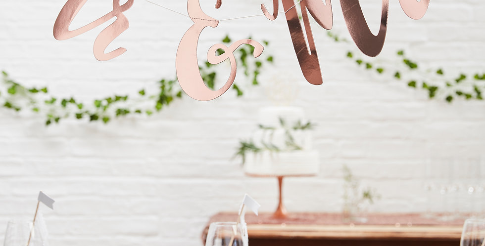 Mr & Mrs Rose Gold Bunting Backdrop - Beautiful Botanics