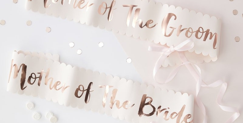 Pink and Rose Gold Mother of The Bride Groom Sashes 2 Pack - Team Bride