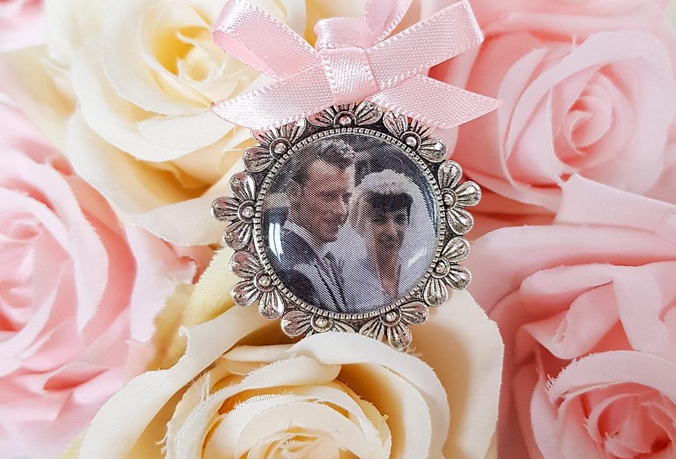 Silver Floral Memorial Photo Charm