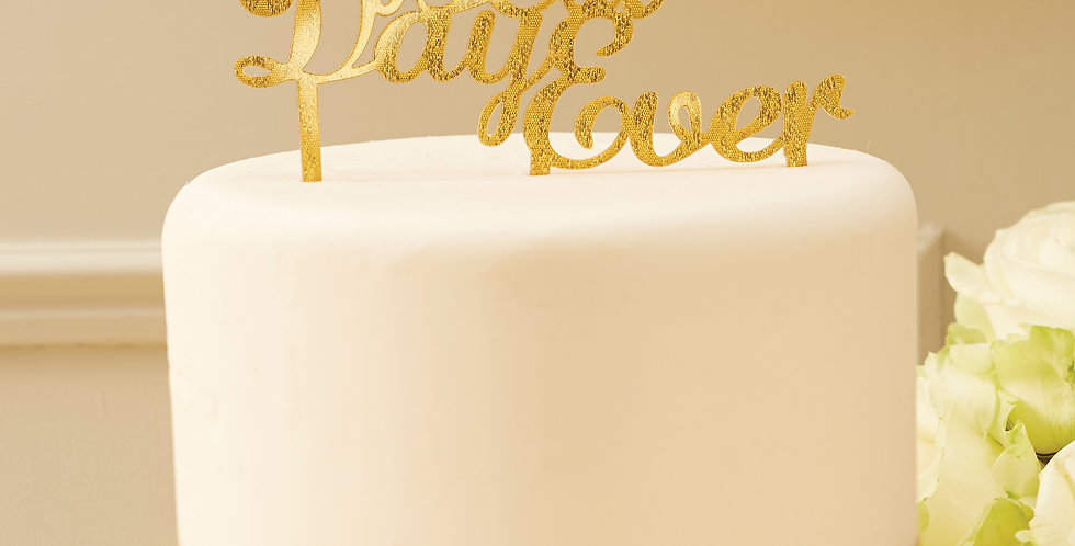Sparkle Gold Best Day Ever Cake Topper - Metallic Perfection