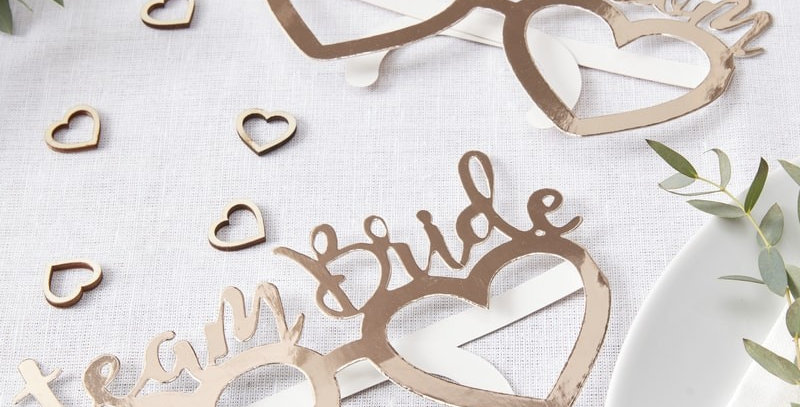 RoseGold Team Bride team Groom Glasses - Beautiful Botanics