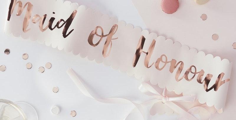 Pink and Rose Gold Maid of Honour Sash- Team Bride