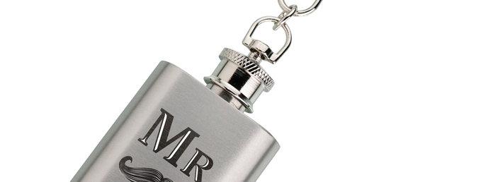Mini Silver Flask Mr. with Mustache