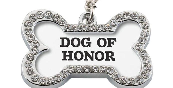 "Wedding Dog Collar Charm ""Dog of Honor """