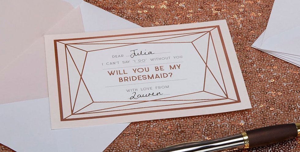 Geo Blush - Bridesmaid Cards with Envelopes