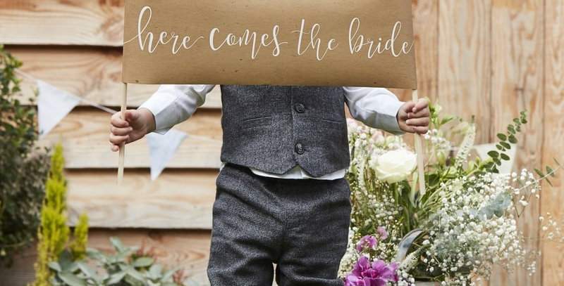 Here Comes The Bride Aisle Sign - Rustic Country
