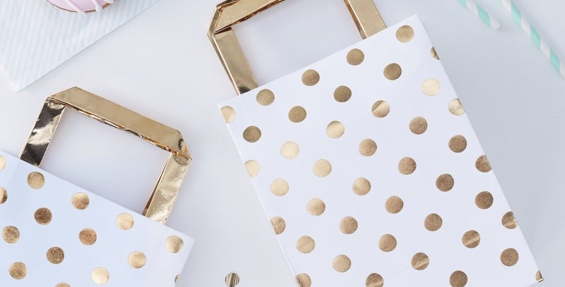 Gold Foiled Polka Dot Party Bags - Pick and Mix