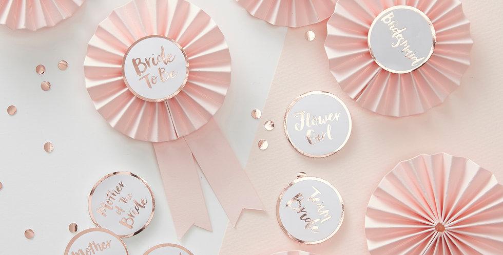 Pink & Rose Gold Hen Party Badges - Team Bride