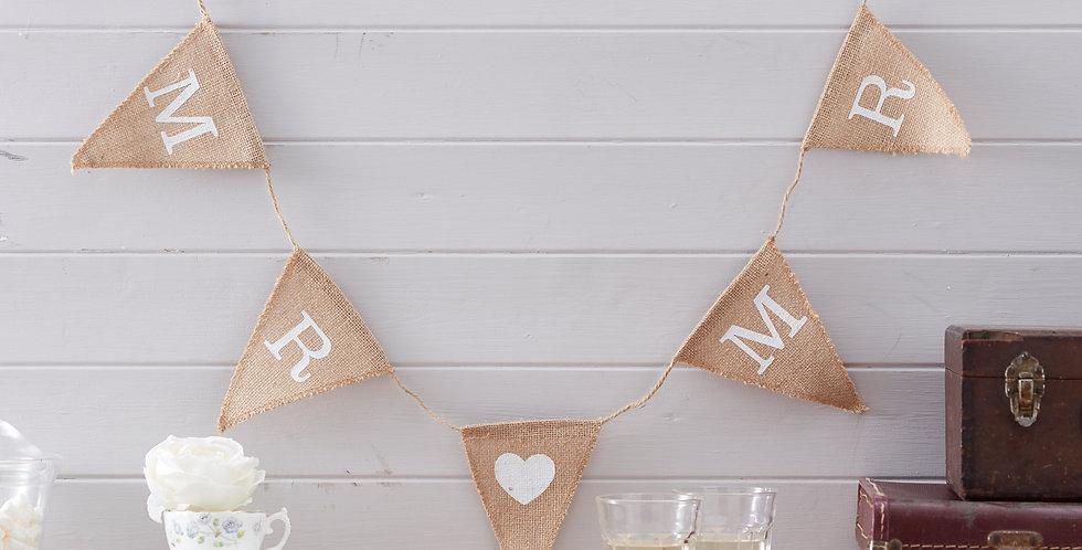 Mr & Mr Hessian Wedding Bunting - Vintage Affair