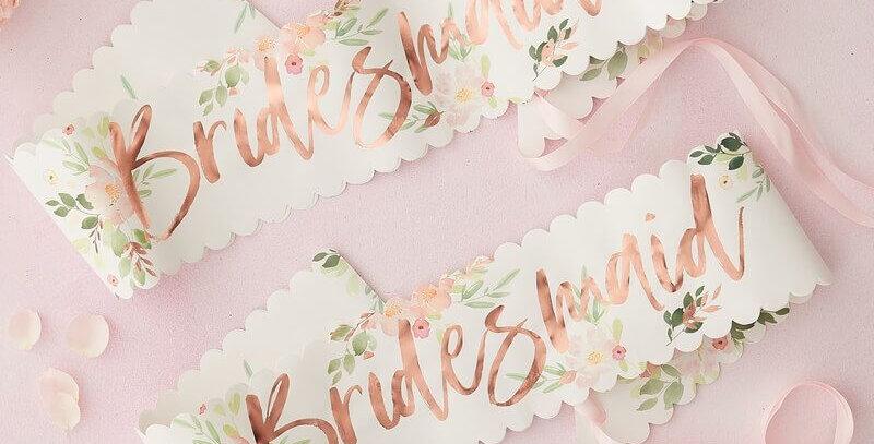 Floral Bridesmaid Sashes 2 Pack