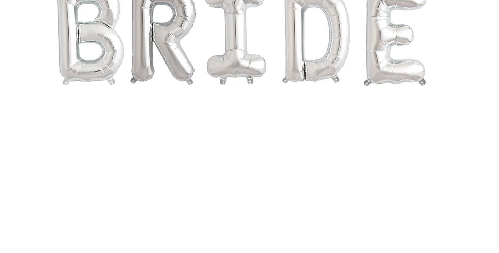 Silver Bride Balloon Banner