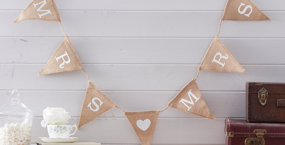Mrs & Mrs Hessian Wedding Bunting - Vintage Affair