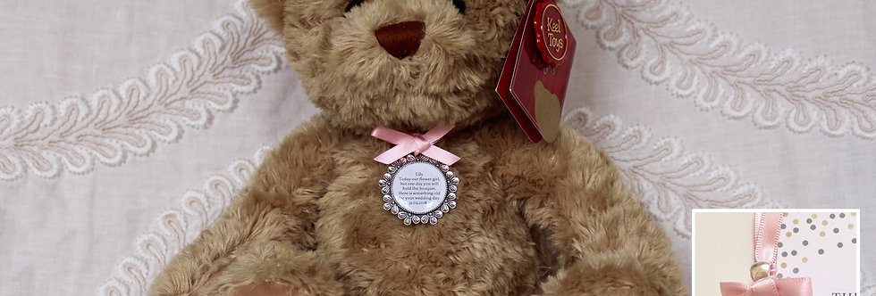Flower Girl Bridesmaid 'Sherwood' Teddy Bear with Charm