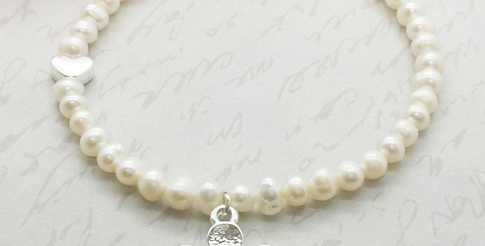 Will You Be My Flower Girl - Pearl & Flower Bracelet
