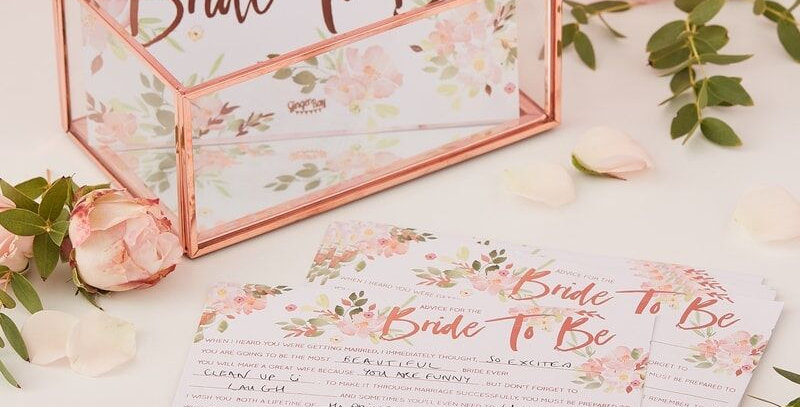 Floral and Rose Gold Foiled Advice For Bride Cards