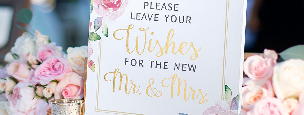Watercolour Wedding Wishes Sign