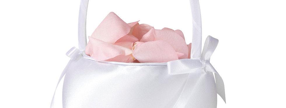 White Satin Flower Basket LRFB170W