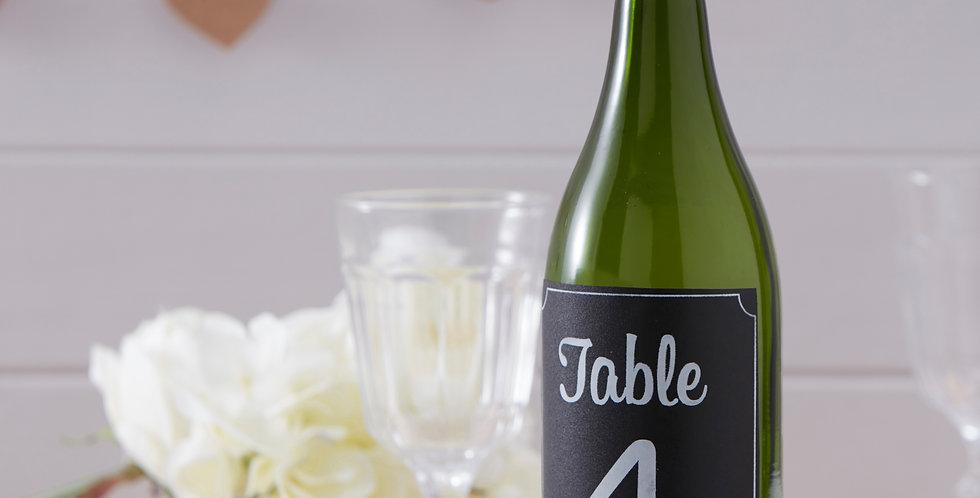 Chalkboard Bottle Sticker Table Numbers 1-12 - Vintage Affair